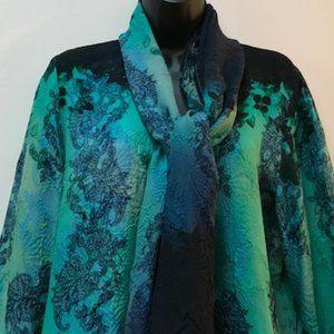 Citron silk openfront jacket &scarf, blue/green, L